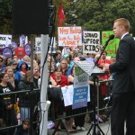 Chris Hipkins addressing education protesters outside Parliament